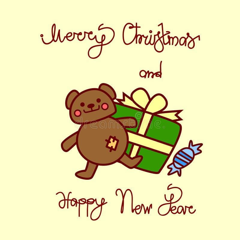 Vrolijke Kerstmis en de Gelukkige Kaart van de Nieuwjaargroet met de Getrokken Van letters voorziende Achtergrond van Teddy Bear  stock illustratie