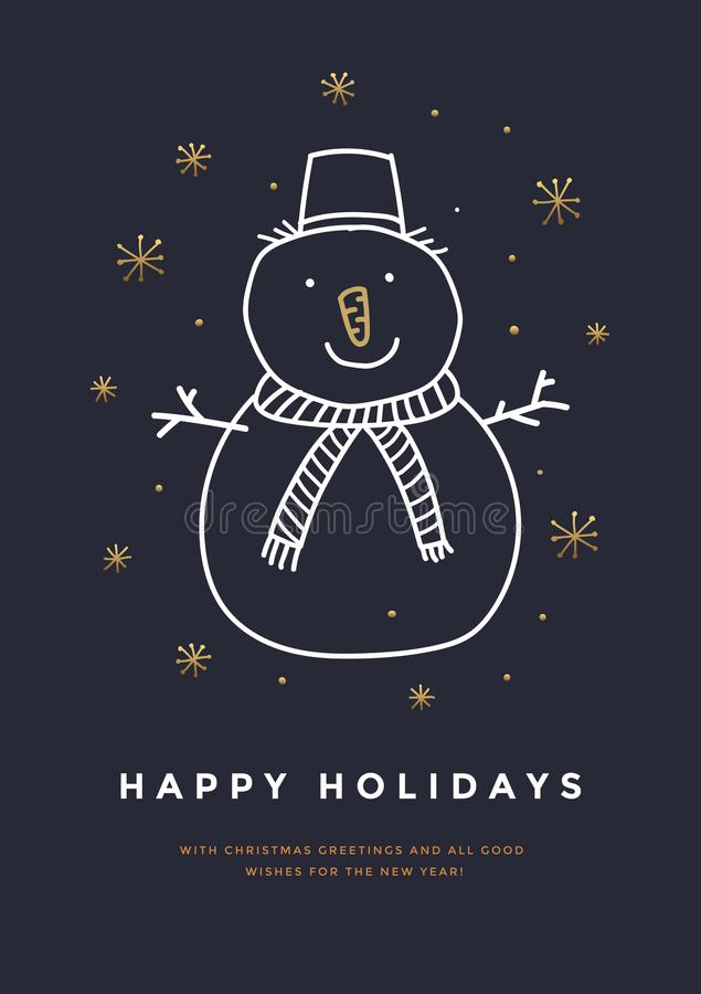 Vrolijke Kerstmis en de Gelukkige kaart van de Nieuwjaargroet met hand getrokken sneeuwman en gouden sneeuwvlokken stock illustratie