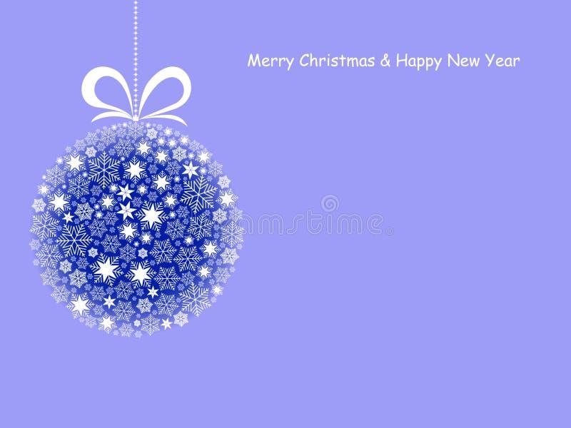 Vrolijke Kerstmis en de Gelukkige kaart van de Nieuwjaargroet met Kerstmisbal royalty-vrije illustratie
