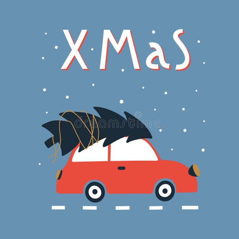 Vrolijke Kerstmis en de Gelukkige kaart van de Nieuwjaargroet met leuke rode auto en Kerstmisboom stock illustratie