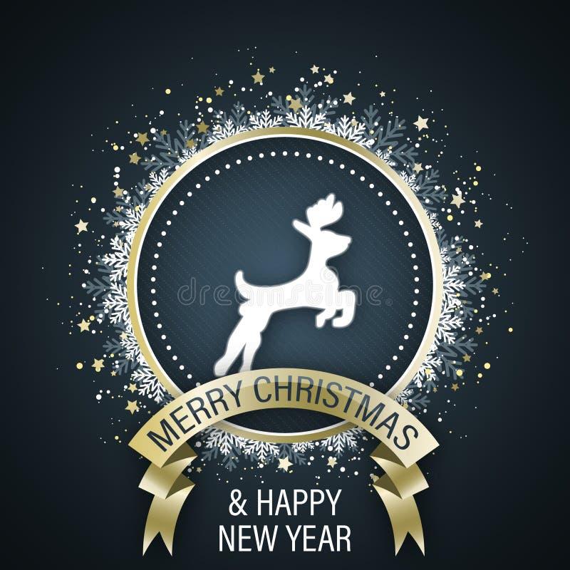 Vrolijke Kerstmis en de Gelukkige kaart van de Nieuwjaargroet met wit rendiersymbool in het midden, gouden lint, decoratieve cirk stock illustratie