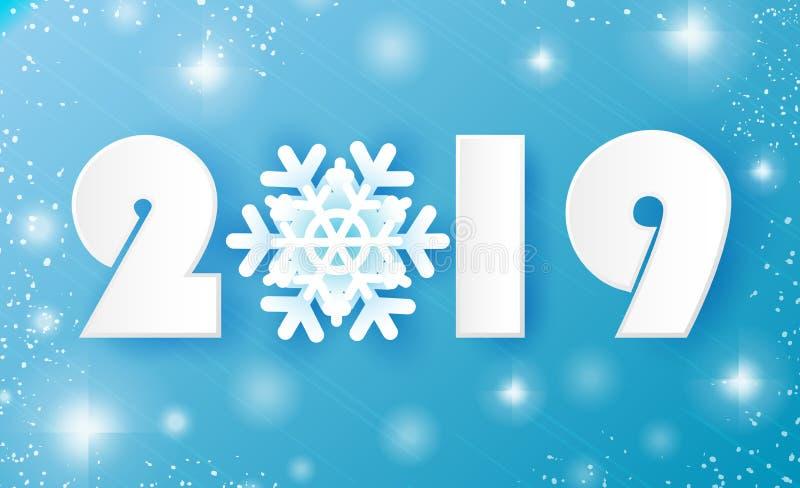 2019, Vrolijke Kerstmis en de Gelukkige kaart van Nieuwjaargroeten De sneeuwvlokken van de Witboekbesnoeiing De achtergrond van d vector illustratie