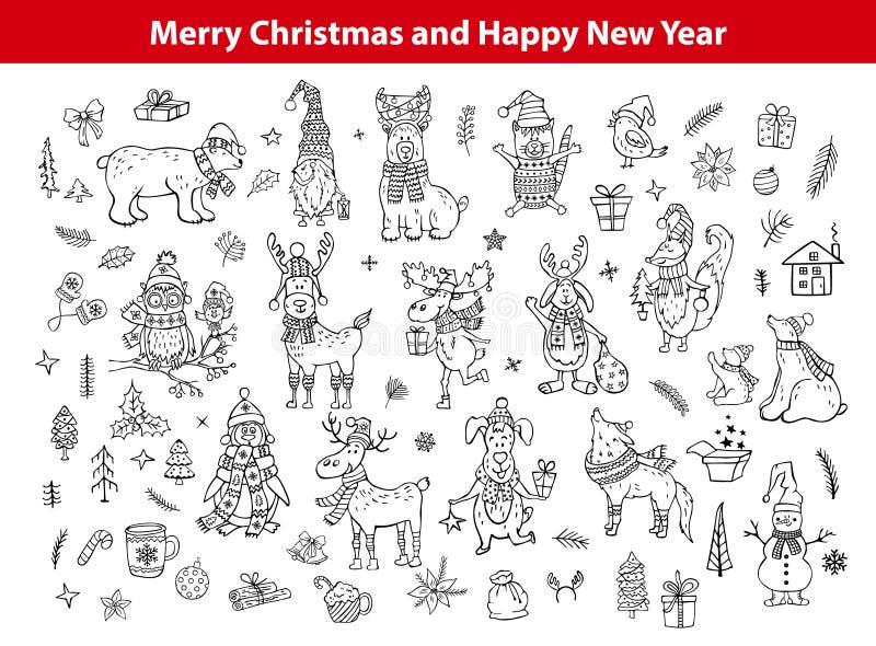 Vrolijke Kerstmis en de gelukkige nieuwe getrokken jaar leuke grappige hand schetsten krabbelsdieren stock illustratie