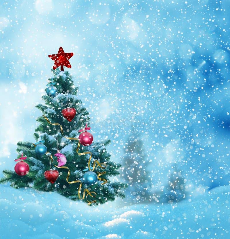 Vrolijke Kerstmis en de gelukkige nieuwe kaart van de jaargroet met exemplaar-ruimte royalty-vrije stock foto's