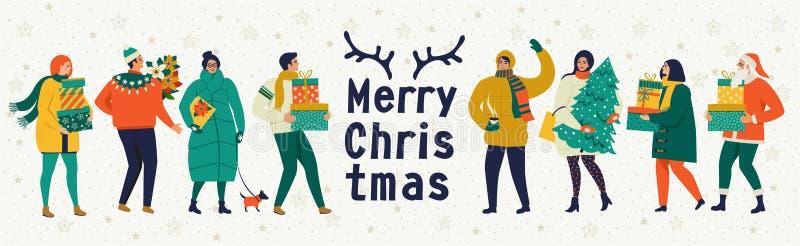 Vrolijke Kerstmis en de gelukkige Nieuwe kaart van de jaar vectorgroet met de winterspelen en mensen Vieringsmalplaatje met het s royalty-vrije illustratie