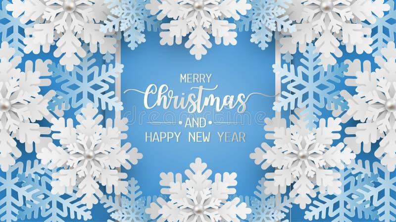 Vrolijke Kerstmis en de gelukkige nieuwe kaart van de jaargroet, prentbriefkaar met sneeuwvlok op blauwe achtergrond royalty-vrije illustratie