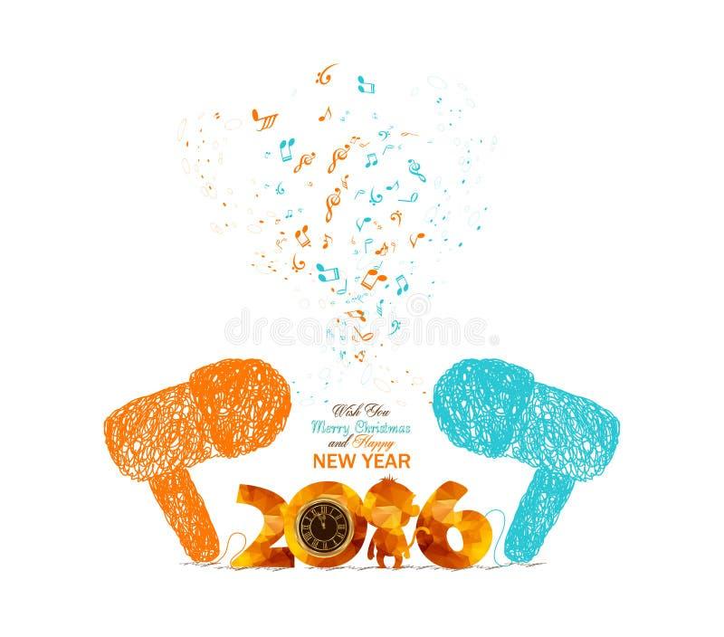 Vrolijke Kerstmis en de gelukkige nieuwe kunst kleurrijke van de jaar muzikale krabbel vector illustratie