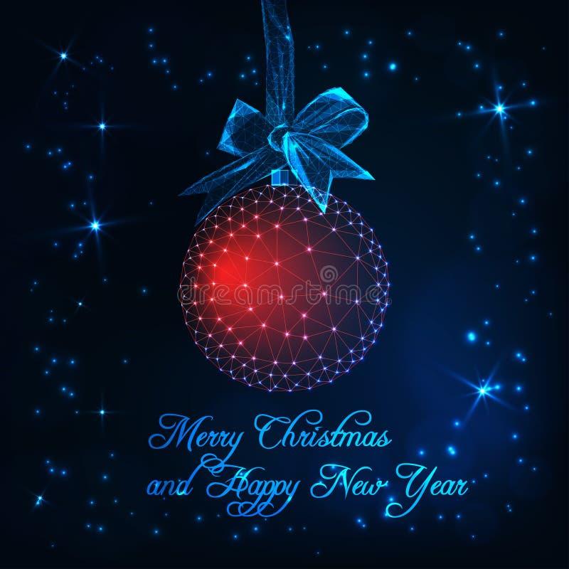 Vrolijke Kerstmis en de Gelukkige Nieuwjaarskaart met rode gloed lage polybal met lint buigen, sterren en tekst stock illustratie