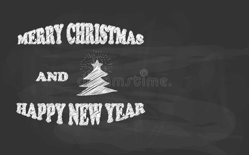 Vrolijke Kerstmis en de Gelukkige schets van het Nieuwjaarhand getrokken krijt op een bord vector illustratie