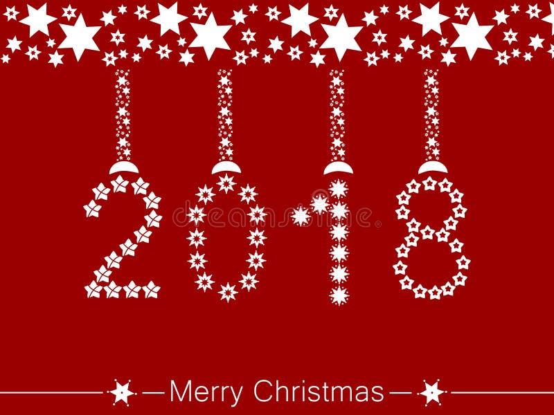 Vrolijke Kerstmis en een gelukkig nieuw jaar 2018 vector illustratie