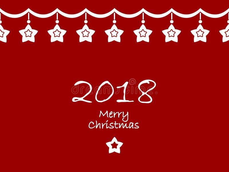 Vrolijke Kerstmis en een gelukkig nieuw jaar 2018 royalty-vrije illustratie