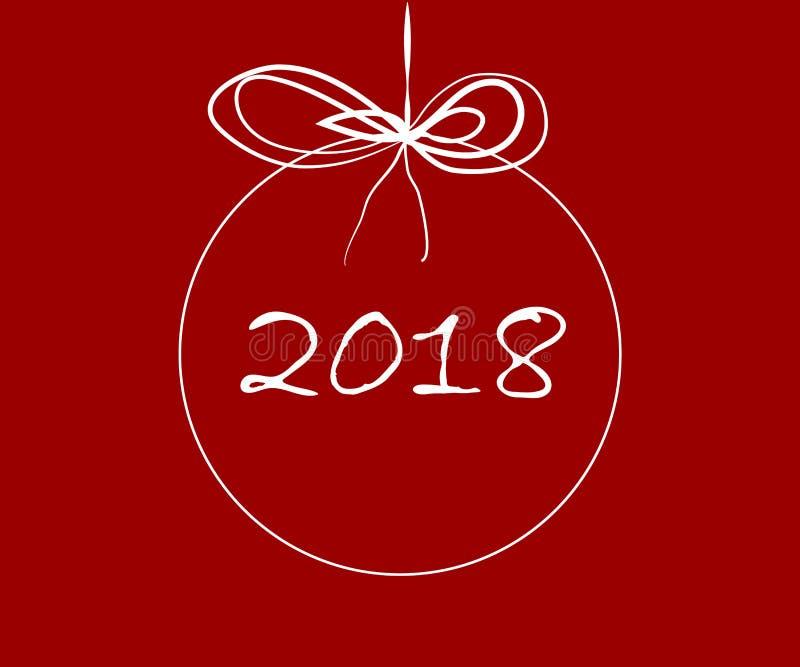 Vrolijke Kerstmis en een gelukkig nieuw jaar 2018 stock illustratie