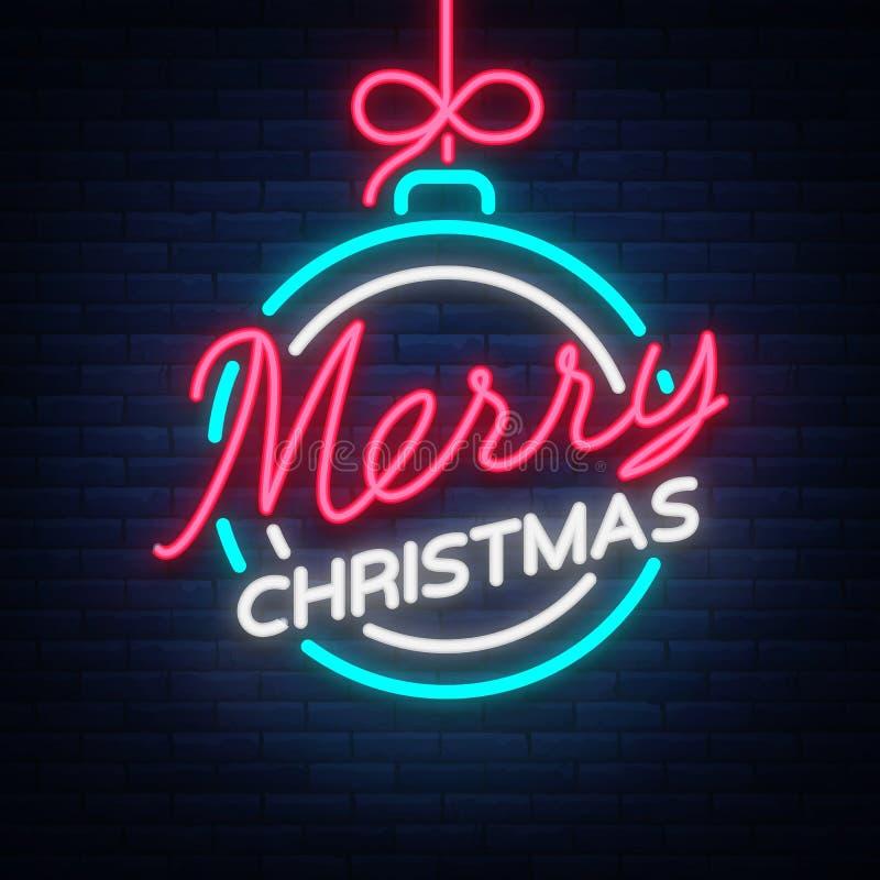 Vrolijke Kerstmis en een Gelukkig Nieuwjaar Groetkaart of uitnodigingspatroon in neonstijl Helder neon lichtgevend uithangbord, royalty-vrije illustratie