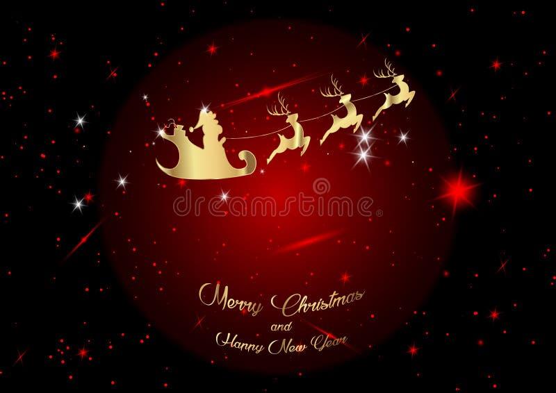 Vrolijke Kerstmis en een Gelukkig Nieuwjaar, Santa Claus van goud met een rendier die, groetkaart met sterren, fantastische rode  stock illustratie
