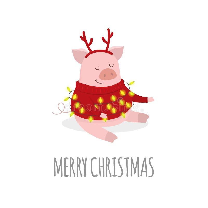 Vrolijke Kerstmis en een Gelukkig Nieuwjaar 2019 Vector stock illustratie