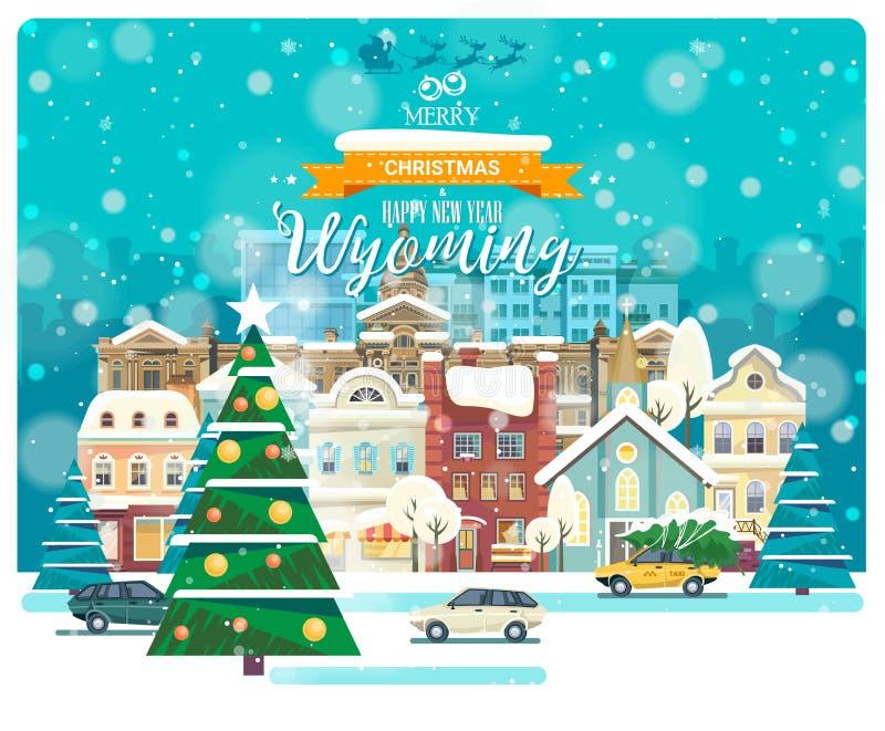 Vrolijke Kerstmis en een Gelukkig Nieuwjaar in Wyoming Groetkaart van de V.S. De winter sneeuwende stad met leuke comfortabele hu royalty-vrije illustratie