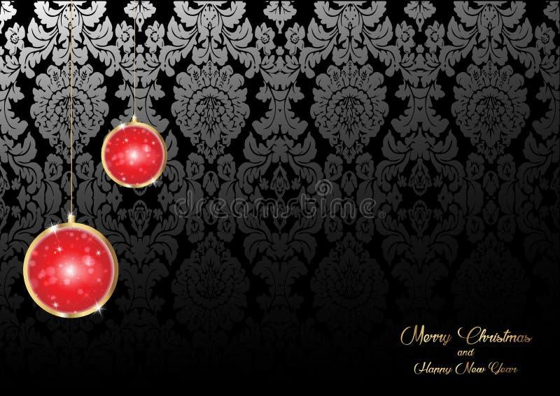 Vrolijke Kerstmis en een Gelukkige die Nieuwjaarachtergrond met gouden Kerstmis rode bollen en achtergrond van het luxe de bloeme stock illustratie