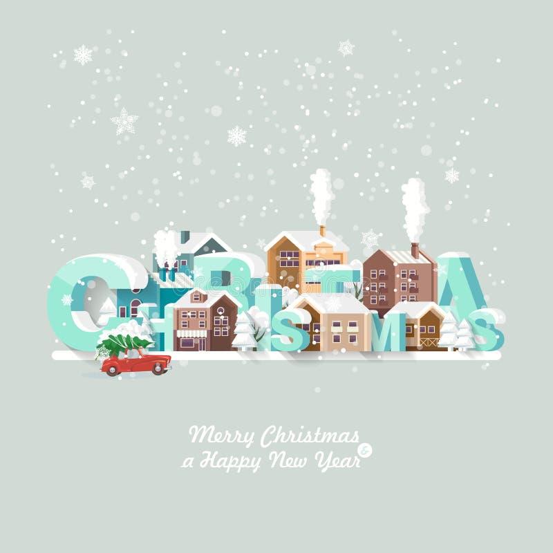 Vrolijke Kerstmis en een Gelukkige kaart van de Nieuwjaar vectorgroet in modern vlak ontwerp Kerstmisstad Sneeuwlandschap met rod vector illustratie
