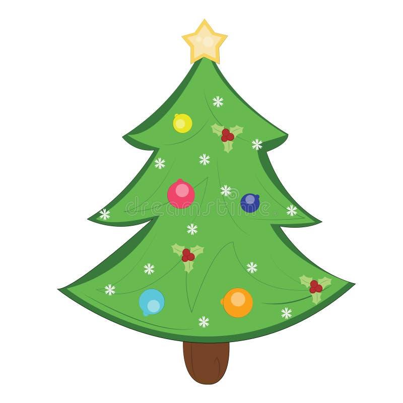 Vrolijke Kerstmis en een gelukkige nieuwe jaar en pijnboomboom royalty-vrije illustratie