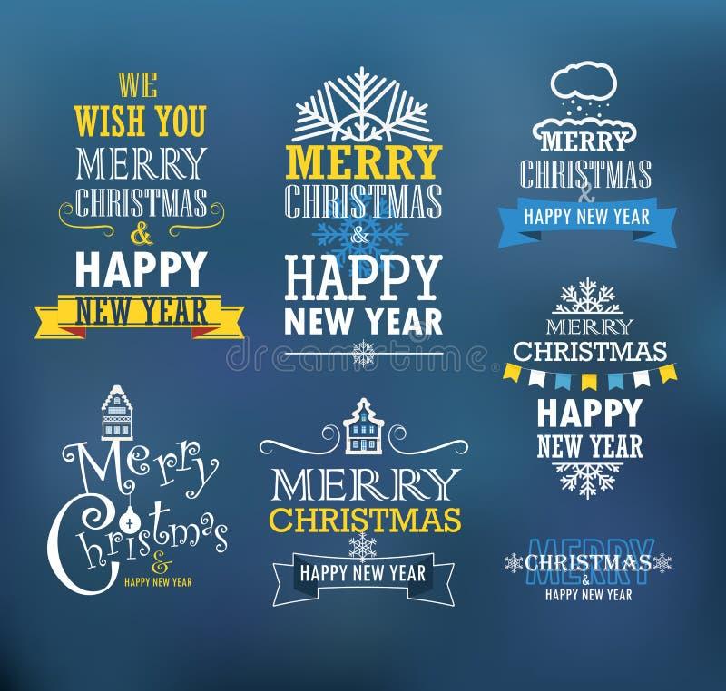 Vrolijke Kerstmis en een gelukkige Nieuwjaarwensen stock illustratie