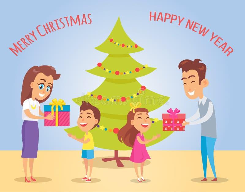 Vrolijke Kerstmis en Geluk Vectorillustratie vector illustratie