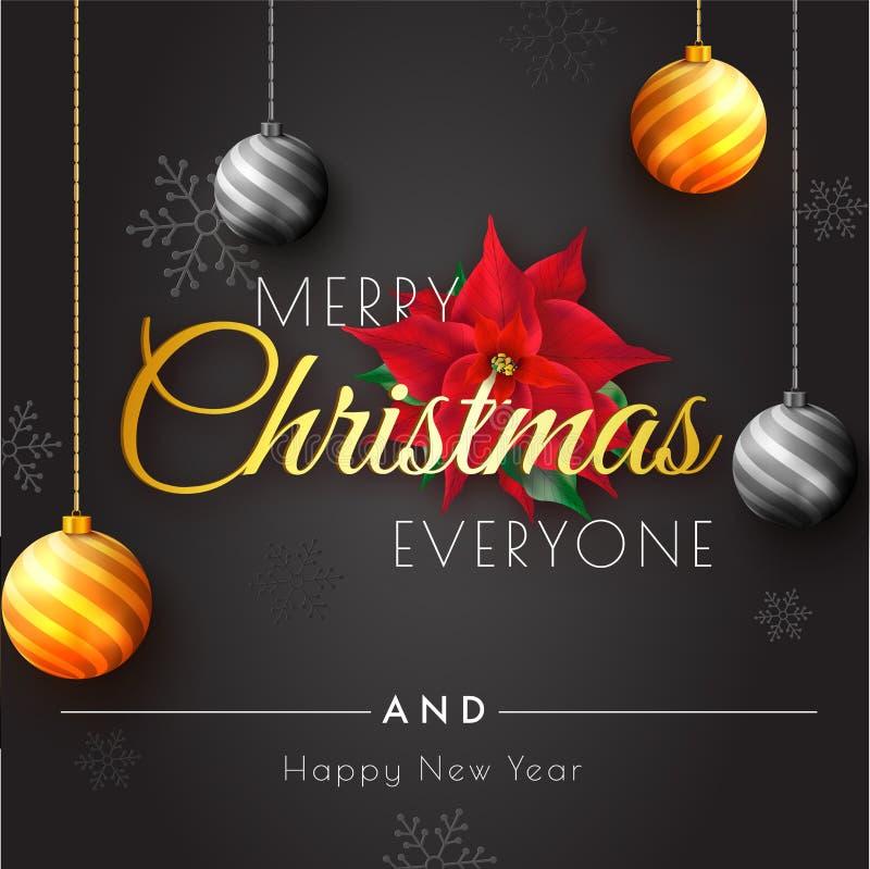 Vrolijke Kerstmis en Gelukkig de kaartontwerp van de Nieuwjaargroet met varkenskot vector illustratie
