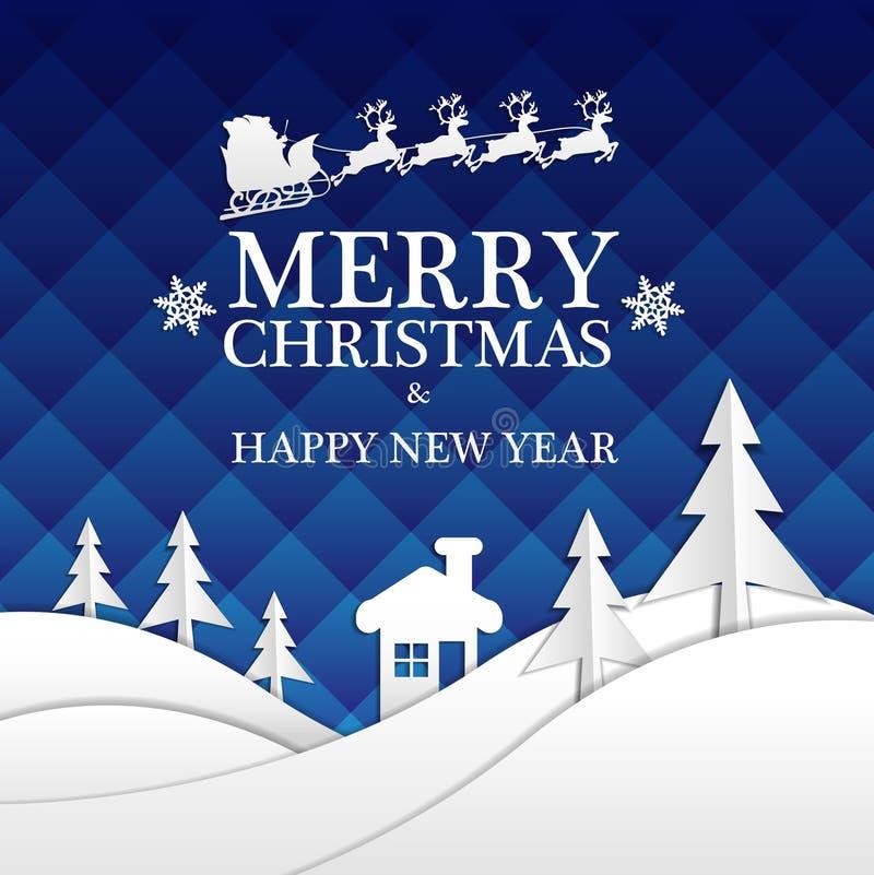 Vrolijke Kerstmis en Gelukkig die Nieuwjaar Witboek op blauw nachtontwerp wordt gesneden voor van de de vieringsnacht van het vak royalty-vrije illustratie