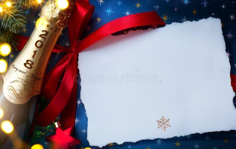2018; Vrolijke Kerstmis en gelukkig Nieuw jaar; feestelijke partijbackgrou royalty-vrije stock foto's