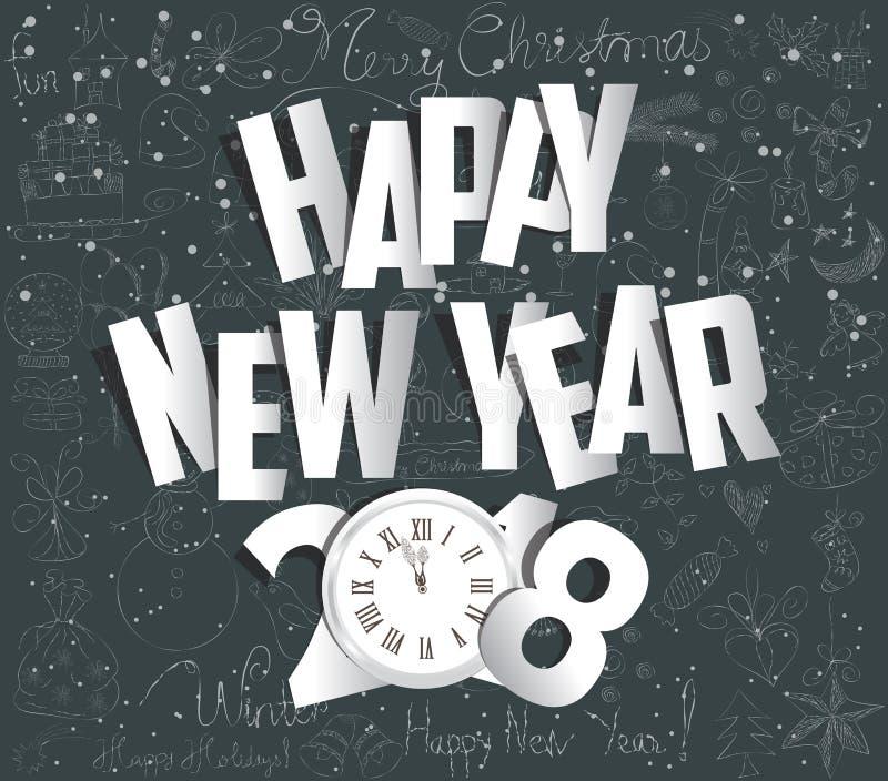 Vrolijke Kerstmis en gelukkig nieuw jaar 2018 gouden document stock illustratie