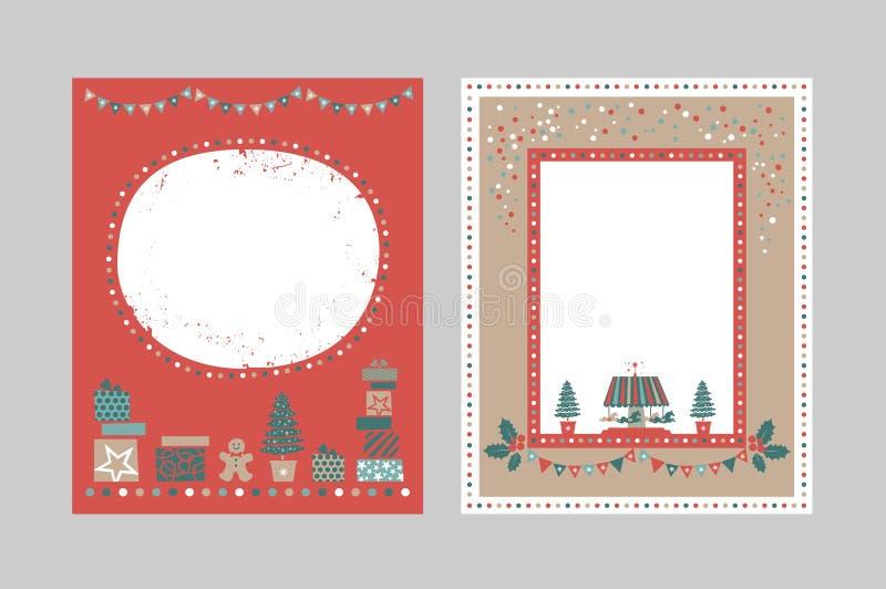 Vrolijke Kerstmis en Gelukkig Nieuw jaar gouden embleem royalty-vrije illustratie