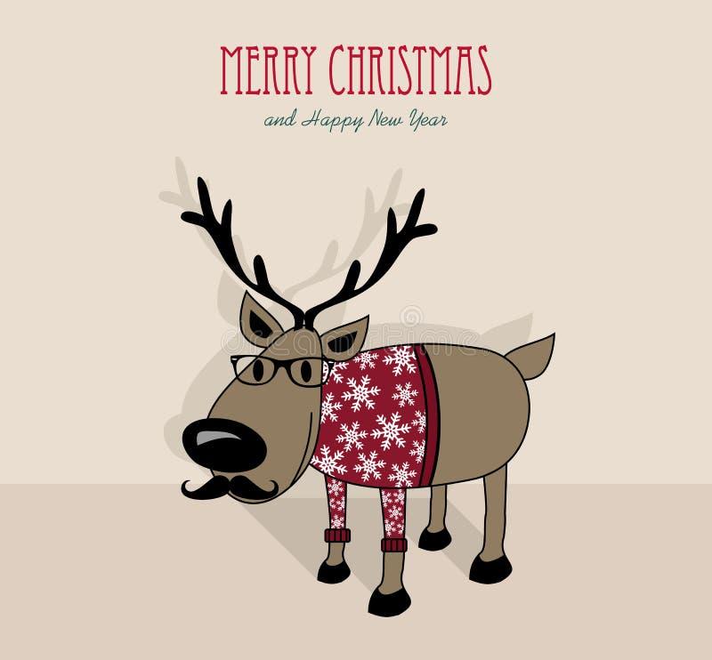 Vrolijke Kerstmis en gelukkig nieuw jaar hipster rendier royalty-vrije illustratie