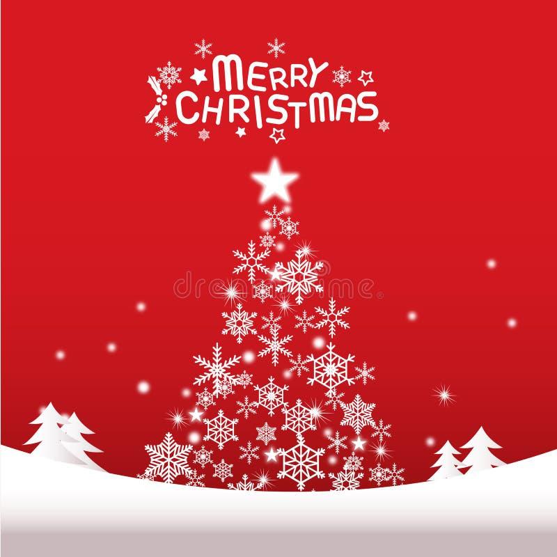 Vrolijke Kerstmis en gelukkig nieuw jaar, Kerstboom royalty-vrije illustratie