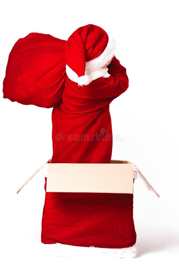 Vrolijke Kerstmis en gelukkig Nieuw jaar! Leuke gelukkig weinig jongen stend royalty-vrije stock afbeelding