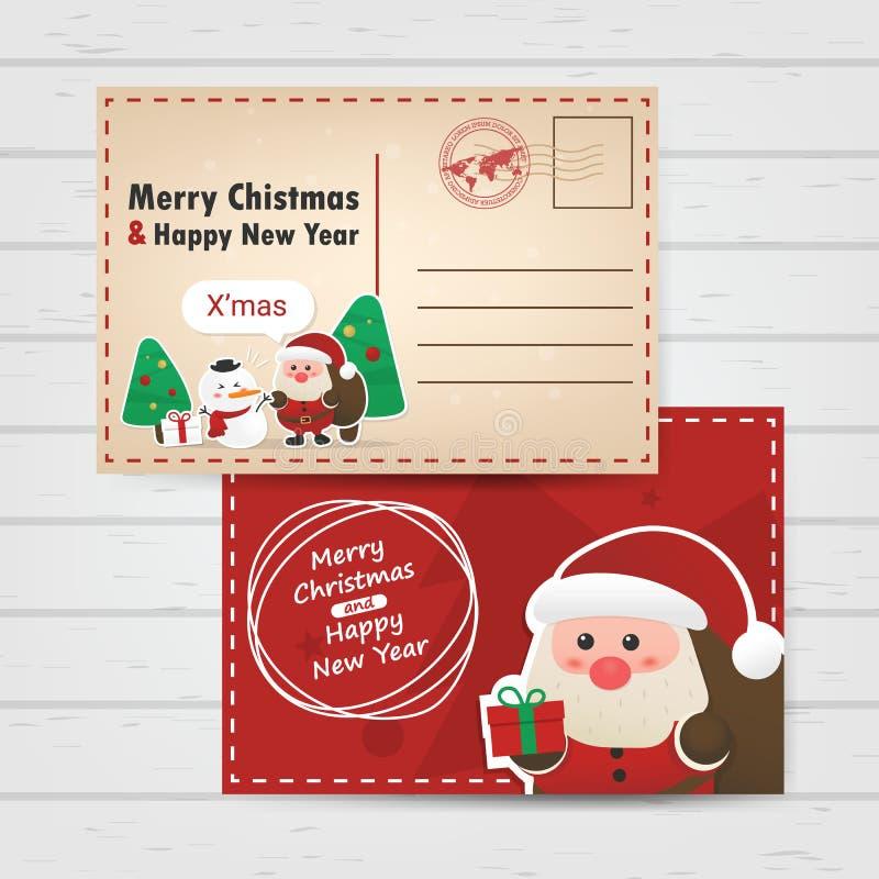 Vrolijke Kerstmis en gelukkig nieuw jaar met ciute poscar de Kerstman royalty-vrije illustratie