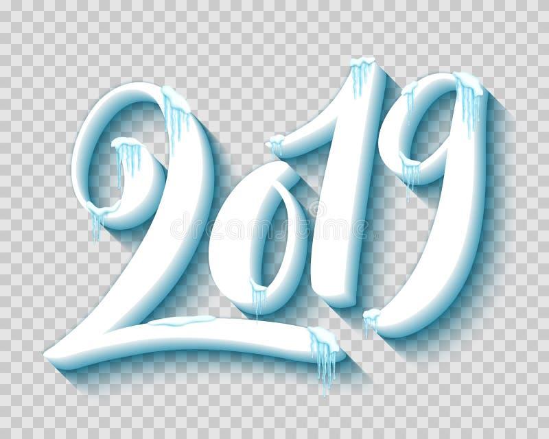 Vrolijke Kerstmis en gelukkig nieuw jaar 2019 met realistische sneeuw en ijskegels, vector vector illustratie