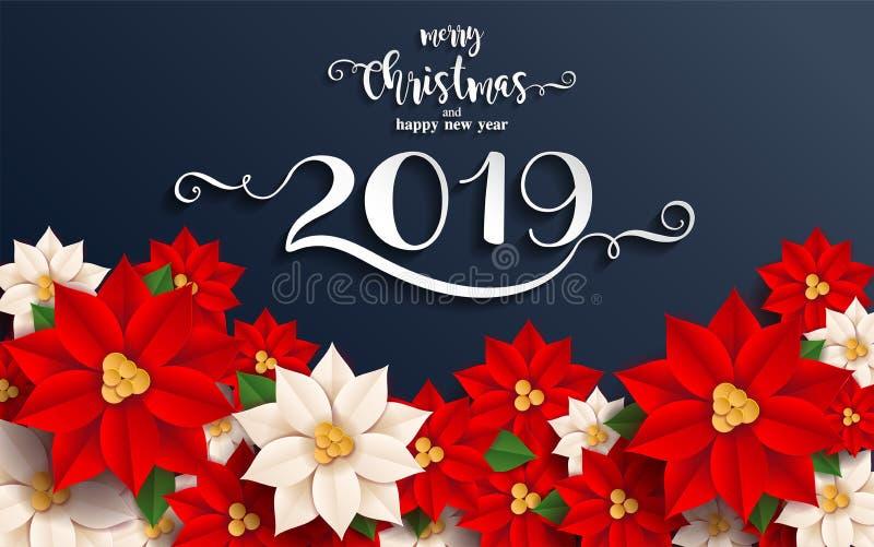 Vrolijke Kerstmis en Gelukkig Nieuwjaar 2019 stock illustratie
