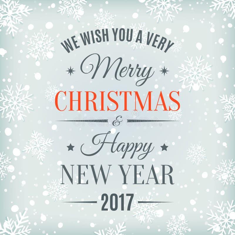 Vrolijke Kerstmis en Gelukkig Nieuwjaar 2017 vector illustratie