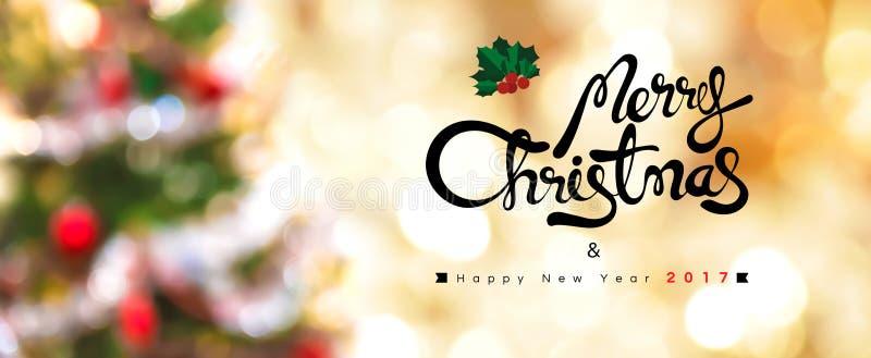 Vrolijke Kerstmis en Gelukkig Nieuwjaar 2017 stock foto