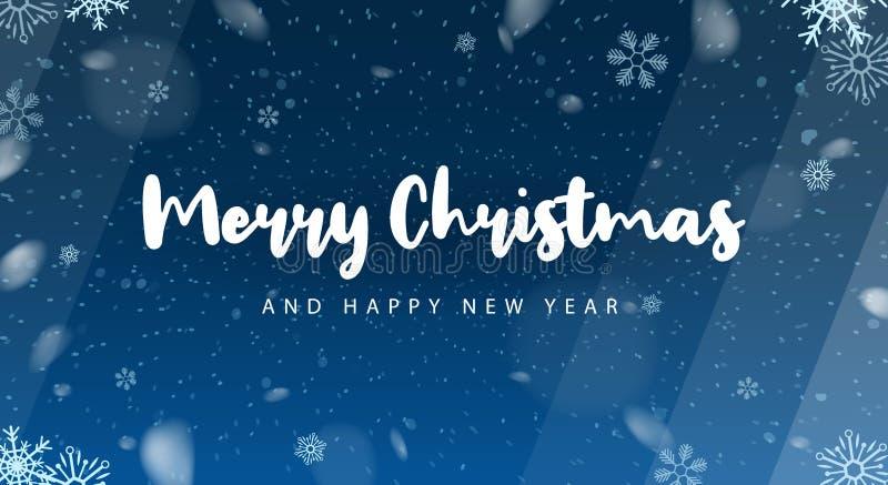 Vrolijke Kerstmis en Gelukkig Nieuwjaar Achtergrond met Sneeuwvlokken Vector illustratie vector illustratie