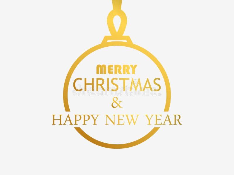 Vrolijke Kerstmis en Gelukkig Nieuwjaar Contour van de Kerstmisbal met een gouden gradiënt op een witte achtergrond Vector royalty-vrije illustratie