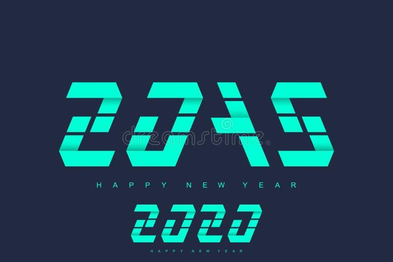 Vrolijke Kerstmis en Gelukkig Nieuwjaar de groetkaart van 2019 en van 2020 Modern futuristisch malplaatje voor 2019 en 2020 Zaken stock illustratie