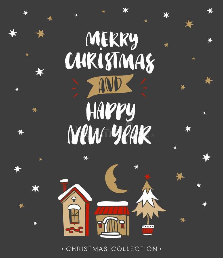 Vrolijke Kerstmis en Gelukkig Nieuwjaar De Kerstman op een slee royalty-vrije illustratie