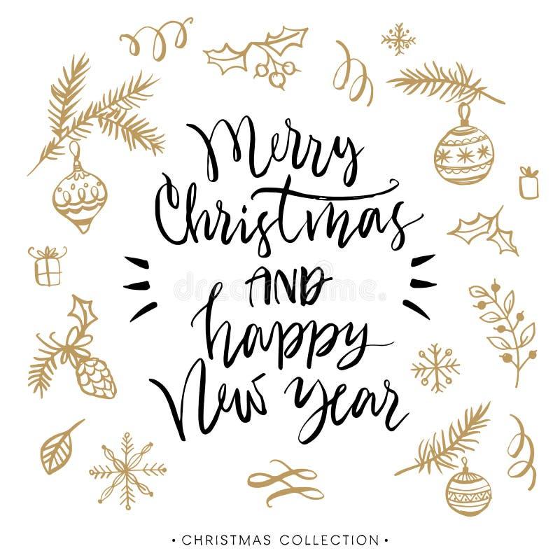 Vrolijke Kerstmis en Gelukkig Nieuwjaar De Kerstman op een slee stock illustratie