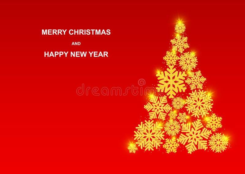 Vrolijke Kerstmis en Gelukkig Nieuwjaar De mooie Gouden sneeuwvlokken met schitteren stock illustratie