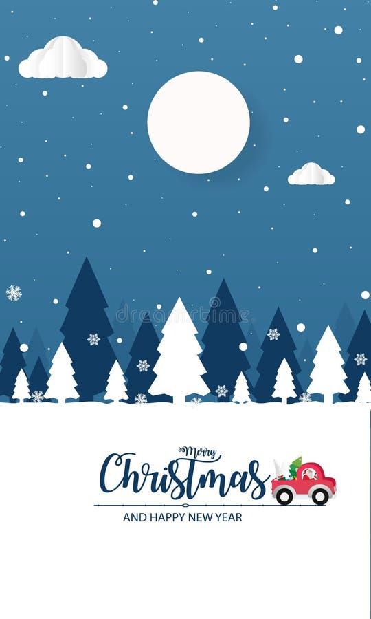 Vrolijke Kerstmis en Gelukkig Nieuwjaar De sc?ne van de Kerstmissneeuw vector van de de kaartaffiche van de illustratiegroet de b royalty-vrije illustratie