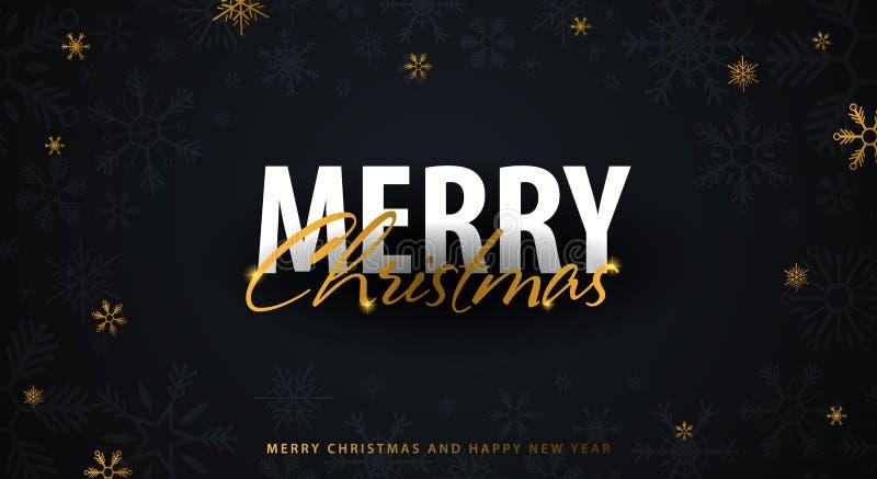 Vrolijke Kerstmis en Gelukkig Nieuwjaar Donkere achtergrond met gouden sneeuwvlokken Vector illustratie stock illustratie