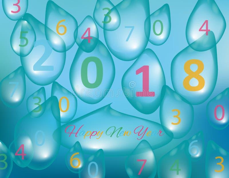 Vrolijke Kerstmis en Gelukkig Nieuwjaar 2018, een vakantieachtergrond met dalingen van water Kerstman Klaus, hemel, vorst, zak stock illustratie
