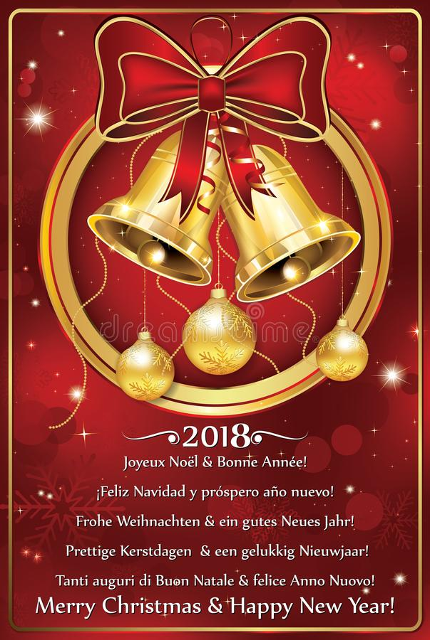 Vrolijke Kerstmis en Gelukkig Nieuwjaar 2018 geschreven in vele talen Groetkaart voor het seizoen van de de wintervakantie stock illustratie