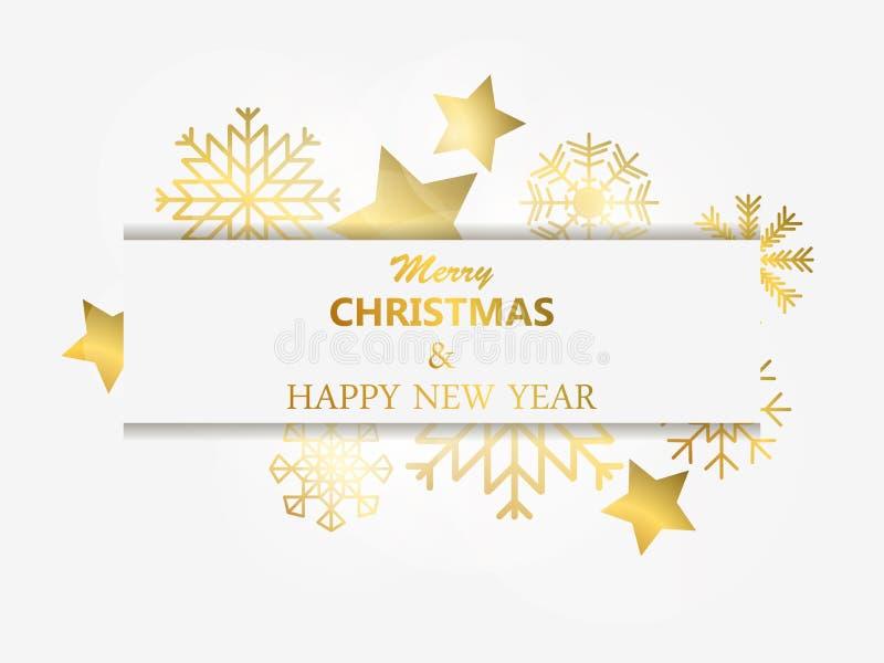 Vrolijke Kerstmis en Gelukkig Nieuwjaar Gouden sneeuwvlokken en sterren met lichten Het effect van Bokeh Het ontwerpmalplaatje va stock illustratie