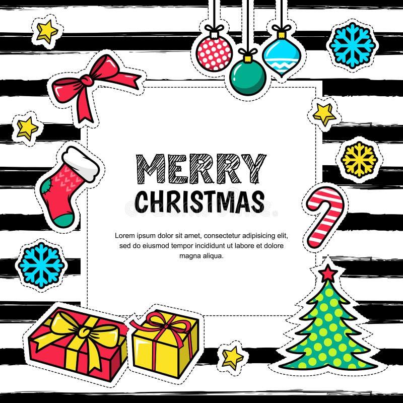 Vrolijke Kerstmis en Gelukkig Nieuwjaar 2017, groetkaart royalty-vrije illustratie